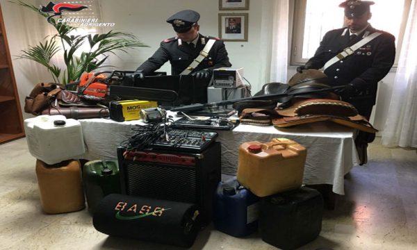 Ribera. Carabinieri scoprono covo con 50mila euro di refurtiva: 3 romeni in carcere
