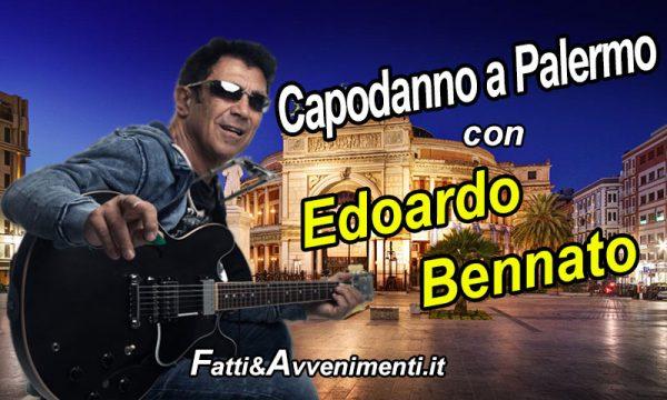 Capodanno a Palermo. Sul palco del Politeama Edoardo Bennato: presentano Sergio Friscia e Federica Minia.