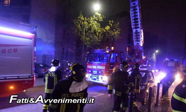 Palermo. Palazzo in fiamme nella notte: due intossicati, Vigili del Fuoco a lavoro sino alle 5 di mattina