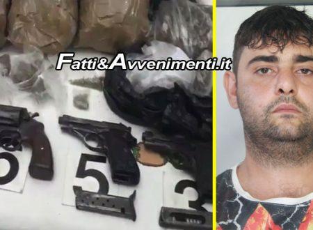 Arrestato spacciatore con un arsenale in casa: 4 pistole, munizoni, 2,5 kg di marijuana e 420gr di cocaina