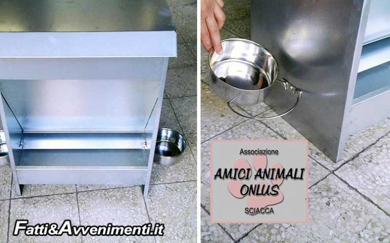 """Sciacca, Randagismo. L'ass. Amici Animali ONLUS dona cibo e dispenser: """"A breve saranno installati"""""""