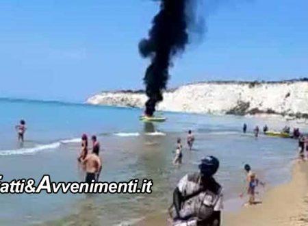 Eraclea Minoa. Gommone a fuoco per lo scoppio della batteria: proprietario si salva buttandosi in acqua