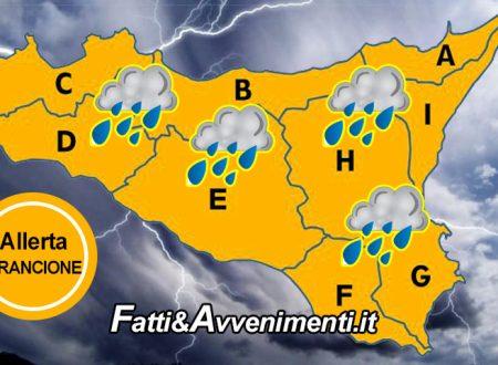"""Sicilia. Meteo: allerta """"ARANCIONE"""" per domani 11 novembre  in tutta la Regione con temporali e forti venti"""