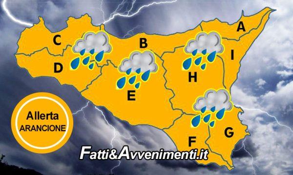 """Sicilia. Meteo: allerta """"Arancione"""" per domani 28 nov. in tutta l'isola, previste forti piogge e raffiche di vento"""