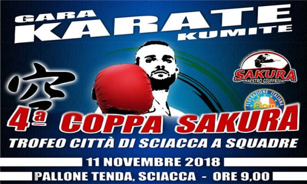 "Sciacca. Domenica 11 novembre ""4° Coppa Sakura"", gara di Karate Kumite"