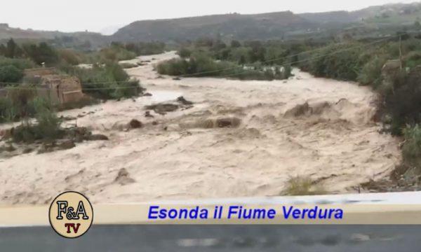 Ribera. Lo spettacolare video del fiume Verdura in piena: esondazione a Piano Monaco, ma ancora danni limitati