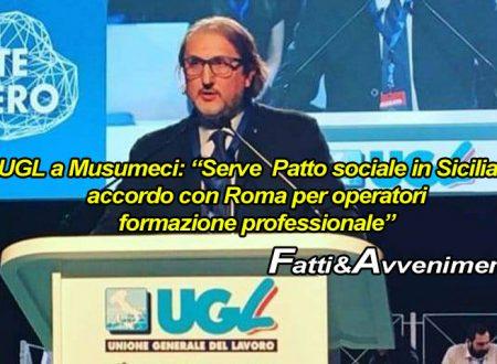 """Reddito di Cittadinanza. Ugl chiede a Musumeci """"Patto sociale"""" in Sicilia e accordo per formazione professionale"""