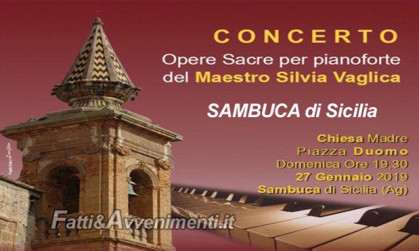 """Sambuca di Sicilia. Oggi alla Chiesa Madre concerto del maestro Silvia Vaglica: """"Opere Sacre per pianoforte"""""""