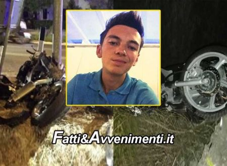 Vittoria (RG). Moto si schianta contro palo: perde la vita un 15enne