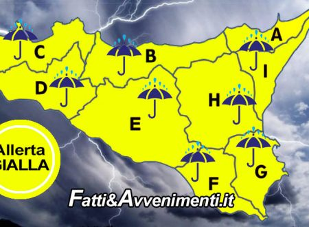 """Meteo. Giovedì 21 allerta """"Gialla""""in tutta la Sicilia: in arrivo forti venti di burrasca, piogge e temporali sparsi"""