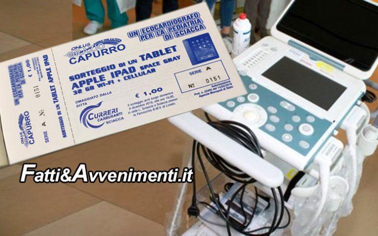 Sciacca. L'Ass. Orazio Capurro lancia lotteria per donare  ecocardiografo pediatrico all'Ospedale