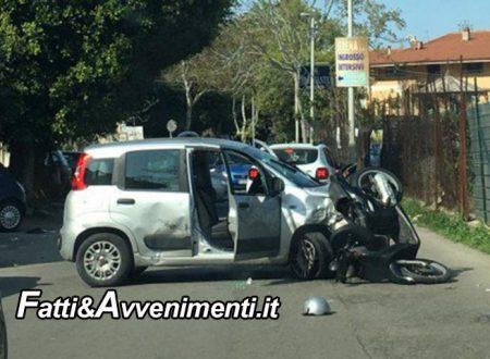Palermo. Grave incidente, uno scooter si scontra con un'auto: 2 i feriti, il motociclista è in prognosi riservata