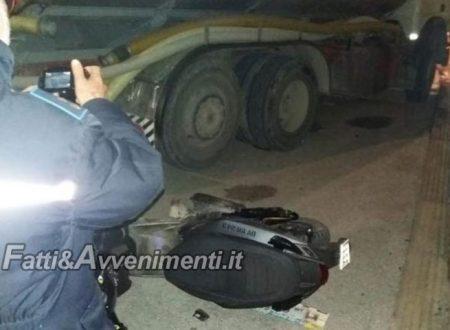 Canicattì. 16Enne si schianta con uno scooter contro l'autobotte: è gravissimo trasferito in elisoccorso