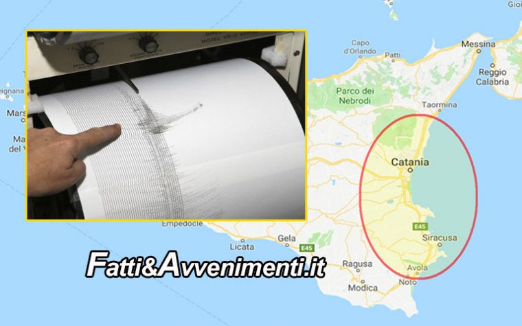 Trema il Catanese: scossa di terremoto di magnitudo 3.3  avvertita anche in provincia di Siracusa