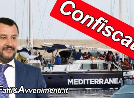 """La G.d.F Confisca la """"Alex"""" dell'Ong Mediterranea e notifica 2° sanzione per  65 mila euro: applicato il DDL Bis Salvini"""