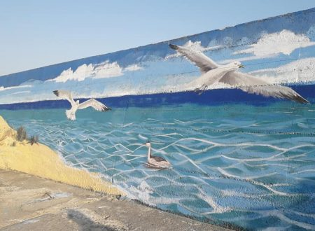 Menfi. Inaugurato un murales sul muro in cemento del braccio ovest del porto di Portopalo