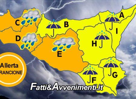 """Allerta meteo """"Arancione"""" per domani 2 settembre per le province di Agrigento, Trapani e Palermo"""