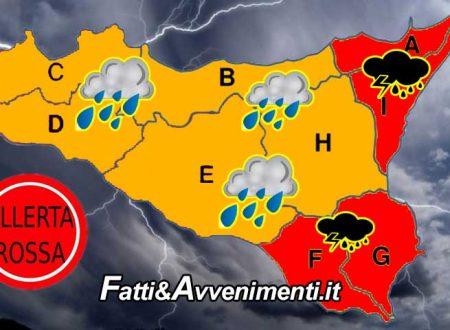 """Martedì 12 meteo in peggioramento: allerta """"ROSSA"""" per la Sicilia orientale, """"ARANCIONE"""" per la restante parte"""