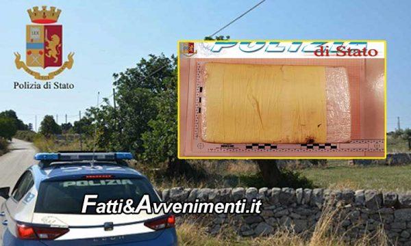 Naro (AG). Trovato un panetto da un chilo di cocaina del valore di 300mila euro: indagini della polizia