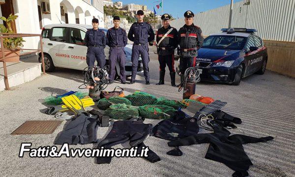 Sciacca. Padre e figlio beccati a pescare 1.500 ricci di mare sequestrati con l'attrezzatura e 6000 euro di multa