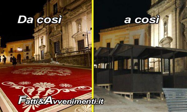 """Sciacca, Carnevale. Piazza Duomo dai tappeti rossi alle """"arrustute"""" (di Bilbao?), e la satira impazza"""