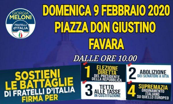 Favara. Domani raccolta firme Fratelli d'Italia su quattro proposte di legge, ecco quali