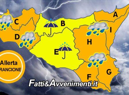 """Sicilia. Meteo: allerta """"Arancione"""" per domani 25 marzo in quasi tutta l'isola, """"Gialla"""" nella zona centrale"""