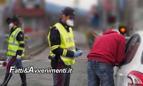 Limitazioni coronavirus. Polizia controlla più di 1200 auto ed identifica 250 persone trovate in giro nel territorio