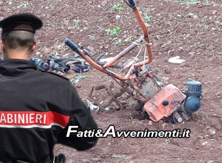 Aragona (Ag). 82enne finisce sotto la motozappa e muore mentre ara terreno in campagna