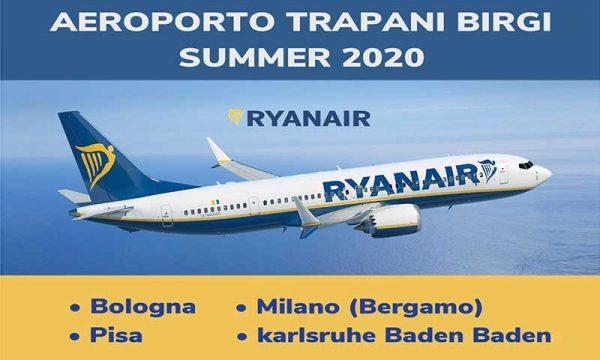 Aeroporto Trapani Birgi. Ryanair riprende i collegamenti con 4 rotte per l'estate 2020: ecco i dettagli