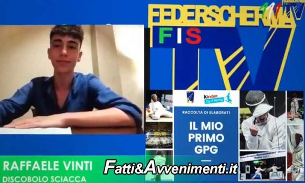 """Raffaele Vinti del """"discobolo Sciacca""""vince il premio """"Il mio primo GPG"""" della Federazione Italiana Scherma"""