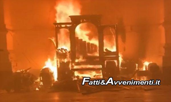 Favara (Ag). In fiamme la Chiesa Madre: distrutto l'organo a canne