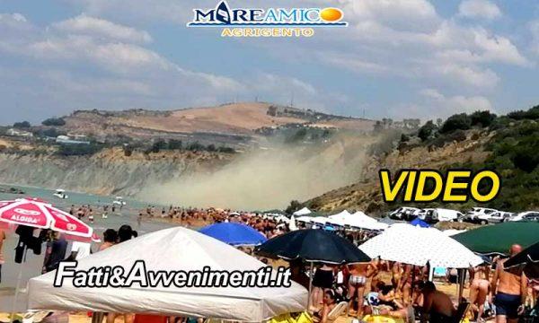 Agrigento. Crolla la collina del Caos sulla spiaggia di Maddalusa piena di bagnanti: tragedia sfiorata