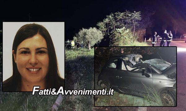 Partanna (TP). Si schianta con l'auto contro un albero di ulivo: perde la vita una giovane di 27 anni