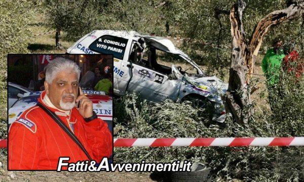 Rally Valle del Sosio, navigatore di 54 anni muore  tra Caltabellotta e Chiusa Sclafani