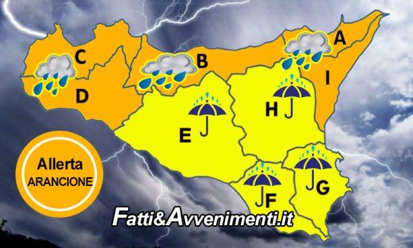 """Allerta Meteo per domani 18 lug: Sicilia settentrionale """"Arancione"""",  """"Gialla"""" nelle zone restanti"""