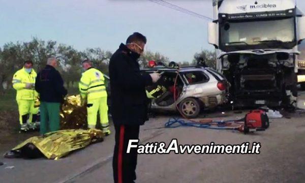 Siracusa. Tragico scontro tra auto e Tir: 3 i morti, due deceduti sul colpo, il terzo in ospedale