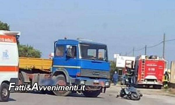 Marsala. Terribile scontro tra un Camion e uno scooter: perde la vita un uomo di 52 anni