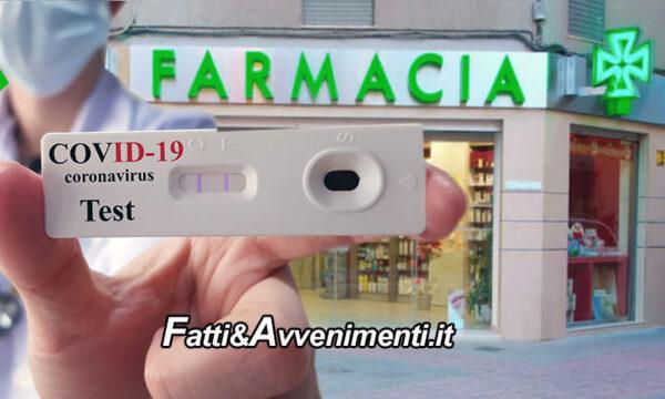 Covid. Le farmacie eseguiranno tamponi rapidi e test sierologici ma a pagamento: ecco i costi