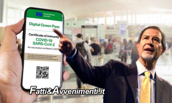 """Sicilia. Musumeci introduce il """"Green pass"""" valido 6 mesi per chi ha completato il ciclo vaccinale: ecco quando serve"""