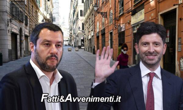 """Salvini contro Speranza sulle chiusure: """"Chiudere tutto aprile è un sequestro di persona"""""""