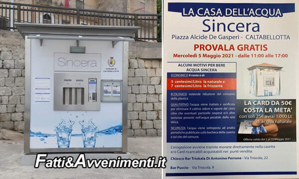 """Caltabellotta. Oggi inaugurazione """"Casa dell'Acqua Sincera"""": """"acqua buona, sana, controllata e controllabile"""""""