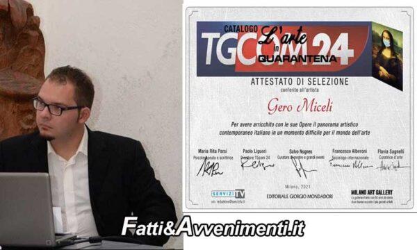 """Grotte (AG). Il poeta Gero Miceli nel catalogo  Mondadori """"L'Arte in Quarantena"""" in collaborazione con TGCOM24"""