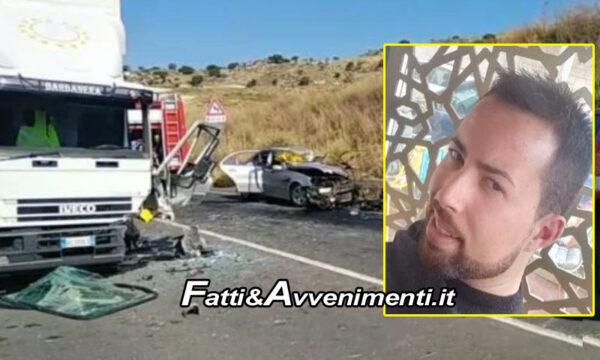 Caltagirone (Ct). Incidente auto contro camion sulla SS417: muore tassista 29enne di Gela