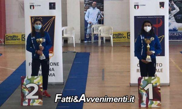Santa Venerina (CT). II^ prova under 14 fioretto e Sciabola, Maria Vittoria Rossi e Aida Pia Figlioli sul podio