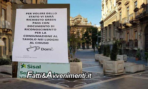 """Catania. Controlli Green pass, esercenti attenti ma penalizzati: """"su 100 persone 70 non hanno fatto il vaccino"""""""