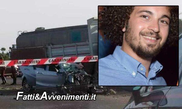 Modica (RG). Scontro tra un'autobotte e un'auto sulla SP 66: perde la vita un giovane 27enne