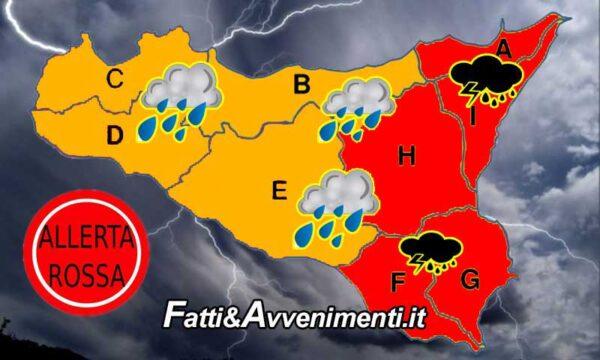 Ancora Allerta Meteo Rossa e Arancione su tutta la Sicilia: ecco cosa si prevede