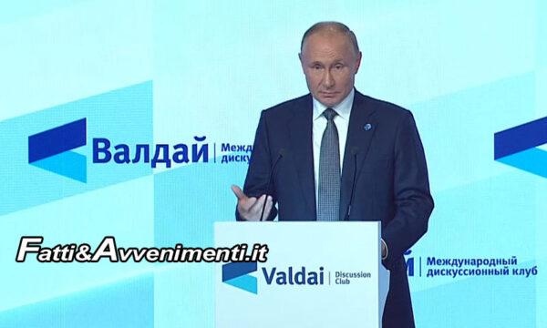 "Russia. Putin al Valdai Club: ""No a Cancel Culture e Gender, Stati Sovrani unica salvezza"""